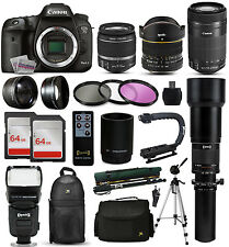 Canon 7D Mark 2 DSLR Camera + 18-55mm IS II + 55-250mm STM + 650-1300mm + 128GB