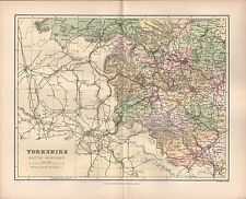 1895 ANTIQUE COUNTY MAP- YORKSHIRE SOUTH WESTERN ELLAND LEEDS WAKEFIELD TADCASTE