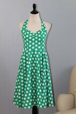 HELL BUNNY Vixen Sz M Medium Green White Polka Dot Cotton Halter Dress NWT