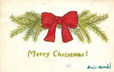 Merry Christmas Postcard HANDMADE Hand-Painted Sprandel Wooster Ohio BOW 217