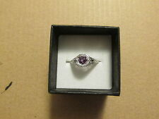 geniune amethyst ring 925ss 14k wg plated size 61/2 antique style