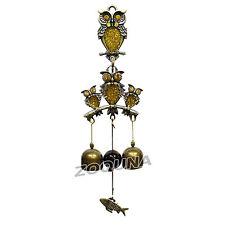 2 Bells Owl Wind Chime Hangings Door Decoration Bronze Copper Metal Bell HC0186