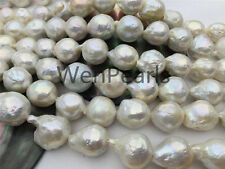 AA 12.5-14mm white flameball freshwater pearls,large hole,white Pearl necklace