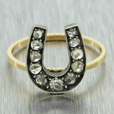 1860s Antique Victorian 14k Solid Gold Silver Diamond Horse Shoe Good Luck Ring
