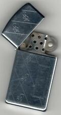 POLISHED LADY SIZE ZIPPO LIGHTER TIGHT TOP DECORATIVE LINE ON ONE SIDE FLORAL