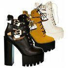 S509 - Ladies Cut Out Twin Buckle Chunky Cleated Platform Ankle Boots - UK 3 - 8