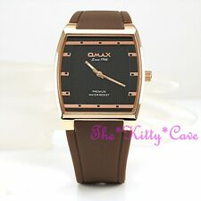 OMAX Slim Rose Gold Pl Sporty Seiko Movt Brown Unisex Watch 4 Year Warranty D006