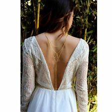 Bridal Harness Crystal Layers Backless Back Chain Body Chain Wedding Necklace