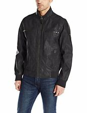 NWT Calvin Klein Men's Outerwear CM699640 Faux Leather Bomber- Black Size Large