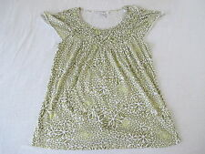 STYLE & CO Women's Cap Sleeve Green & White Elastic Smocking Knit Top Size M