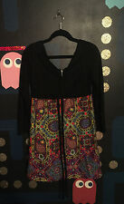 VTG 60s 70s Floral Paisley Green Red Yellow Blue Dress 9/10 S Mod Twiggy Hippie