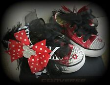 Converse bling diamonds rhinestone Red Minnie Bow 5 6 7 8 girl shoes custom NEW