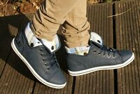 LADIES NAVY BLUE HI HIGH TOP TRAINERS SNEAKERS FOLDED COLLAR SIZE 3 4 5 6 7 8