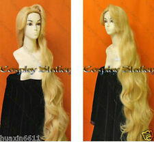 Hot sell about  Cosplay Rapunzel Custom Styled Golden Blonde Long Wavy Wig 100cm