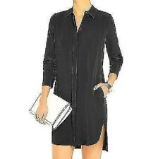 NWT VINCE Silk Black Piped Shirtdress Size 12 $395