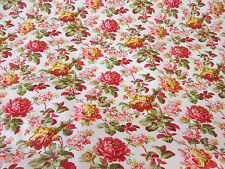 Ivory & Pink Traditional Flowers, Floral Printed 100% Cotton Poplin Fabric