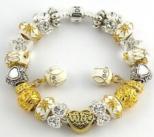 Authentic PANDORA Barrel Bracelet with WIFE WHITE & GOLD European Charms & Beads