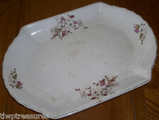 Antique Ridgways Royal Semi-Porcelain Oblong Serving Platter - Pink White Floral