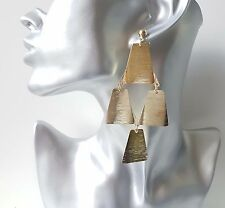 "Gorgeous 10cm - 4"" long gold tone geometric style drop earrings *slight seconds*"