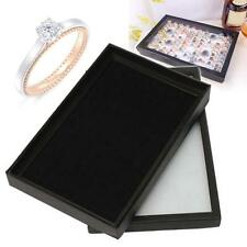 Jewelry Rings Display Tray Velvet Pad 100 Slot Show Case Box Jewelry Storage G6