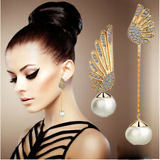 1 Pair Women Elegant Wings Rhinestone Ear Stud Gold Dangle Earrings Jewelry NEW