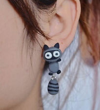 handcrafted raccoon stud earring resin polymer statement gift UK cute grey pair