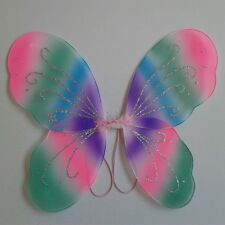 Pink Rainbow Angel Pixie Fairy Butterfly Wings Kids Fancy Dress Party Costume