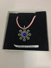Heraldic BLUE Gem HGPP Pewter Pendant on a Pink Cord Necklace