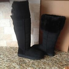 UGG Bailey Button Over The Knee Black Suede/Sheepskin Boots US 5 Womens 1007536