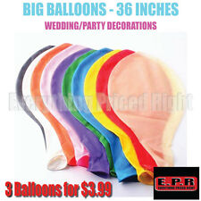 "(3 pk) 36"" Latex Balloon – 3ft Balloon - Air/Helium Balloon – Birthday Balloon"