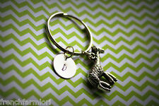 Monogram Hand Stamped Letter Personalized Giraffe Key Chain safari zoo africa