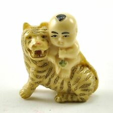 """Old Chinese/ Japanese Happy Lucky Baby Boy riding Tiger Resin NETSUKE NEW 1.75"""""""