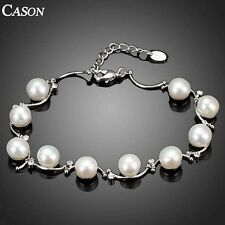 Fashion Swarovski Crystal & Pearl Chain Bracelet 18K White Gold Plated Jewelry
