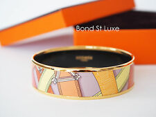 New Authentic HERMES Cavalcadour Enamel Bangle Bracelet 65 PM Pink Gold ghw