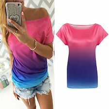 Damen Bunt T-shirt Kurzarm Top Blusen Oberteil Sommer Freizeit Shirts Gr.34-42