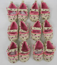 Baby shoes pink girls pink cream velvet  3 month pram job lot 6 pair wholesale