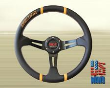 Universal 355MM JDM 6 Hole Deep Dish Yellow Stitching Drift Steering Wheel