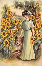 Lovely Lady With Collie Dog by Sunflowers by Artist Reynolds-Old Postcard-A302