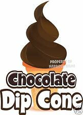 "Chocolate Dip Cone Ice Cream Decal 14"" Produce Food Truck Concession Stand"