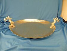 Oval metal serving tray platter deer antlers heads handles meat hunting art