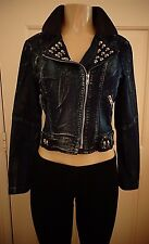 CASTING Blue Jean Moto Jacket Black Faux Leather Skull Studs Goth Punk Size Sm