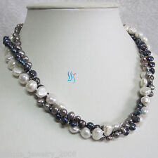 """18"""" 5-9mm 3Row White Gray Peacock Baroque Freshwater Pearl Necklace Jewelry"""