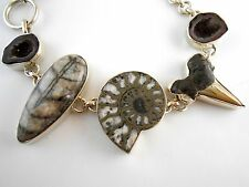 925 Sterling Silver Geode Druzy Pyrite Ammonite Shark Tooth Orthoceras Bracelet