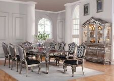 """Acme """"Chantelle"""" 9 Piece Dining Table Set in Antique Silver Finish-60540"""
