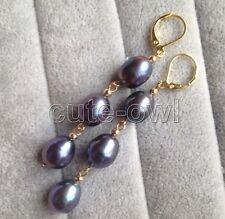 New Fashion Lady 18KGP Black Genuine Freshwater Pearl Ear Dangle Hook Earrings