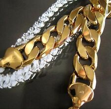 Chunky 24k Yellow Gold Filled Mens Necklace Curb Chain 103g GF Jewelry
