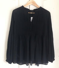 Ann Taylor Blouse S Pintucked Pleated Black Neck Tie Sheer Chiffon Long Sleeve