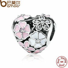 Bamoer Jewelry Authentic 925 Sterling Silver Charm With Pink Flower For Bracelet