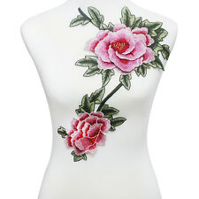 3D Pink Green Flower Floral Patch Embroidery Patches Lace Motifs Applique Cloth