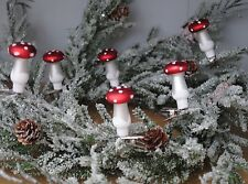 6 Small TOADSTOOL Clips Pegs Christmas Tree decorations ornaments vintage style